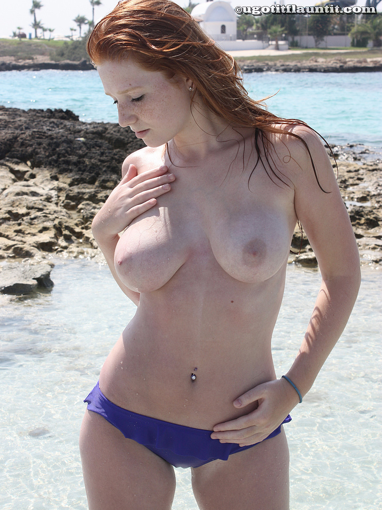 Redhead large natural boobs